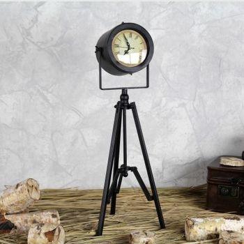 【協貿】鄉村創意三腳架客廳擺件鐵藝床頭復古座鐘A款