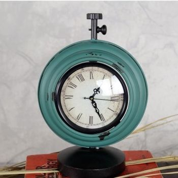 【協貿】復古擺件鐵藝鐘錶時鐘大號藍色工藝品創意家居裝飾
