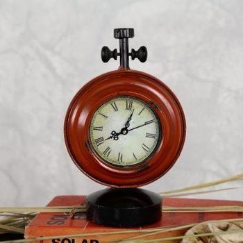 【協貿】復古擺件鐵藝鐘錶時鐘小號紅色工藝品創意家居裝飾