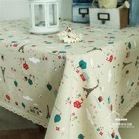 【協貿】棉麻田園卡通鐵塔蕾絲花邊餐桌布藝蓋巾