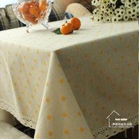 【協貿】雛菊棉麻蕾絲田園碎花小清新黃色餐桌布藝蓋巾
