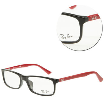 【Ray Ban】長方膠框黑紅光學眼鏡(RB5292-D-2444)