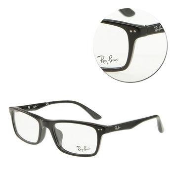 【Ray Ban】長方膠框黑色光學眼鏡-亞洲版(RB5288F-2000)