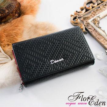 DF Flor Eden皮夾 - 時尚編織紋真皮多卡夾二折式中夾