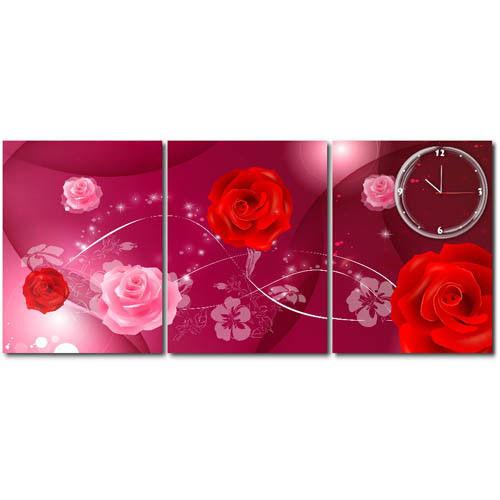 【TIME ART】靜音機芯三聯式時鐘 無框畫鐘 二畫一鐘掛鐘 40*60*2.5cm R3-039