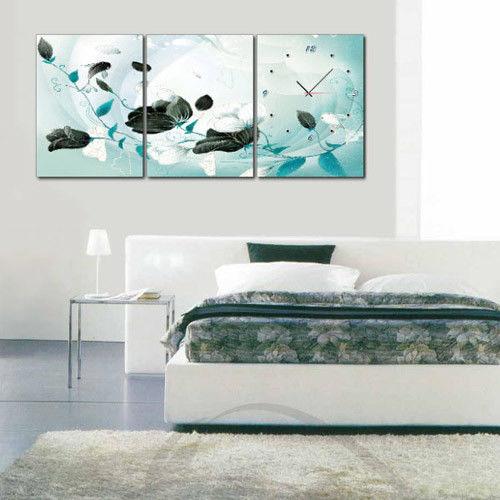 【TIME ART】靜音機芯三聯式時鐘 無框畫鐘 二畫一鐘掛鐘 40*60*2.5cm R3-026