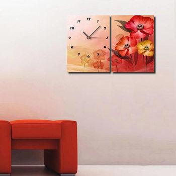 【TIME ART】靜音機芯二聯式時鐘 無框畫鐘 一畫一鐘掛鐘 40*60*2.5cm R2-035