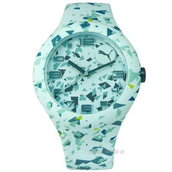 PUMA / PU103211024 / 繽紛幾何層次運動矽膠腕錶 綠色 47mm