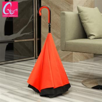 【專利正品】Carry 英倫風 時尚都會款 凱莉反向傘(不滴水)玫瑰紅