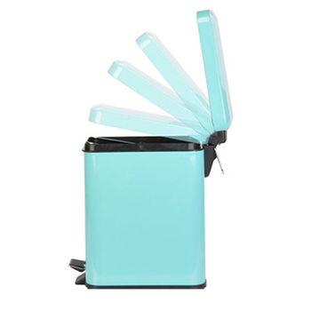PUSH! 居家生活用品 colourful液壓自動緩降垃圾桶 置物桶 5升(L)I14優雅藍