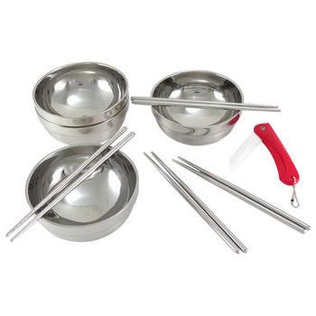 【超值組合】四人份不鏽鋼碗筷組+陶瓷摺疊刀TH-223