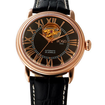 HOGA 公爵品味心跳機械腕錶-黑/白-40mm