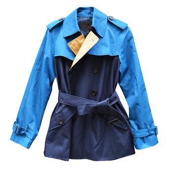 【COACH】雙排扣多變款式風衣(綠藍)