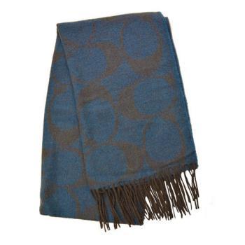 【COACH】羊毛流蘇LOGO C長圍巾 / 藍