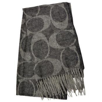 【COACH】羊毛流蘇LOGO C長圍巾 / 黑