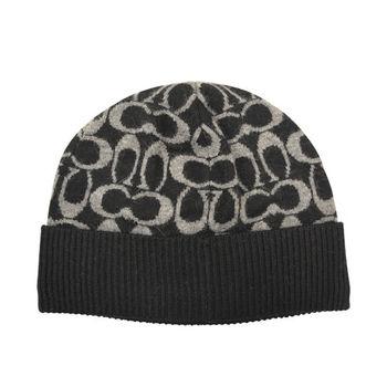 【COACH】秋冬新款羊毛毛線帽 / 黑