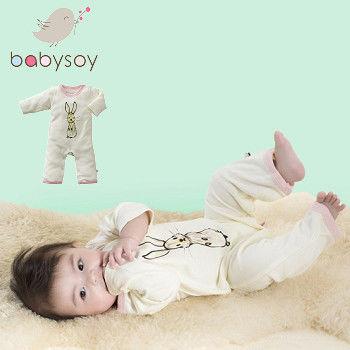 美國 Babysoy [Janey Baby] 有機棉長袖連身衣611-兔子