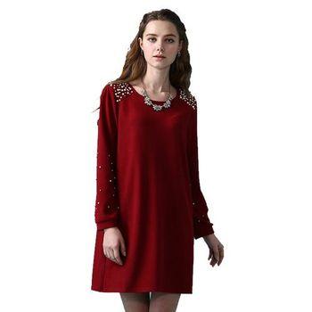 日本Impress極顯瘦名品珍珠細絨洋裝