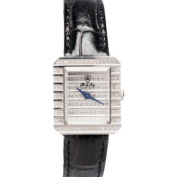 JL 雅仕風華真鑽仕女腕錶(黑X銀-小)