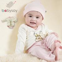 美國 Babysoy  [Janey Baby]有機棉長袖包屁衣606-兔子