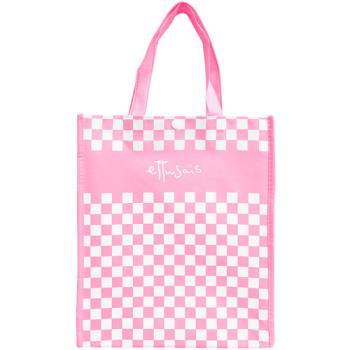ETTUSAIS 艾杜紗 粉色方格購物手提袋