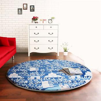 【HomeBeauty】細緻印花法蘭絨超厚款圓型超大地墊-直徑150cm(布魯鄉村)