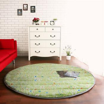 【HomeBeauty】細緻印花法蘭絨超厚款圓型超大地墊-直徑150cm(綠野方舟)