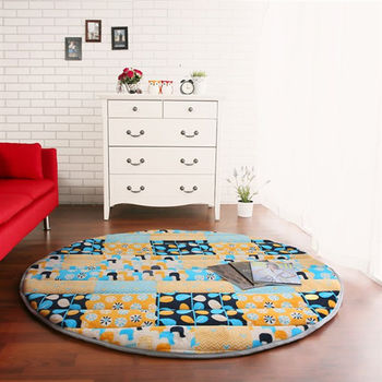 【HomeBeauty】細緻印花法蘭絨超厚款圓型超大地墊-直徑150cm(繽橘普風)