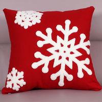 【協貿】時尚百搭聖誕節禮物毛巾繡刺紅底雪花方形抱枕含芯