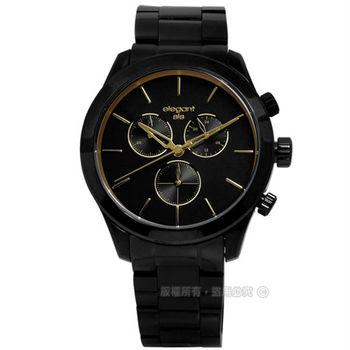 elegantsis / ELJT31-JB09MA / 簡約魅力光澤感三環計時不鏽鋼腕錶 金x鍍黑 44mm