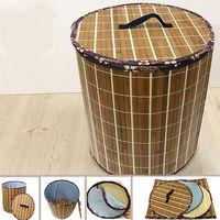 【KOTAS】京都圓型碳烤竹面收納箱(附蓋)