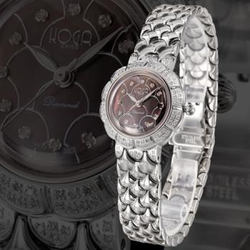 HOGA薔薇花語真鑽機械錶-銀x黑/33mm