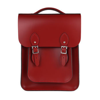 【The Leather Satchel Co.】英國手工牛皮經典後揹包 手提包(心機紅)