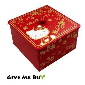 【Hello Kitty】方型喜氣雙層收納盒