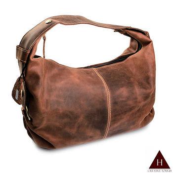 【H-CT】紅褐彎型設計款兩用真皮斜背手提包(EU5802-Z)