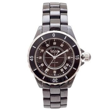 【OMAX】時間晶鑽黑色陶瓷圓型男錶(黑色)