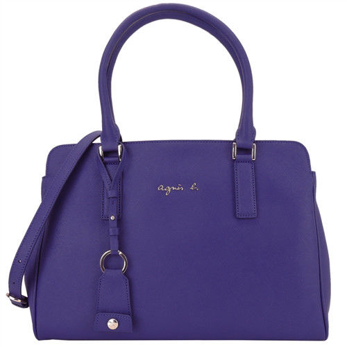 agnes b. VOYAGE 銀LOGO防刮三層兩用波士頓包(大/紫)