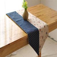 【協貿】拼色地中海風時尚簡約現代藍點拼接雙面桌旗