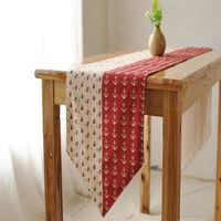 【協貿】拼色地中海風時尚簡約現代紅點拼接雙面桌旗