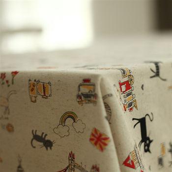 卡通田園棉麻黑貓房屋布藝餐桌蓋布