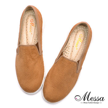 【Messa米莎專櫃女鞋】MIT男孩率性風仿麂絨內真皮懶人鞋-棕色