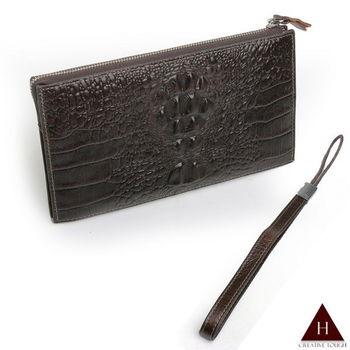 【H-CT】立體鱷魚紋設計真皮長夾手提包(BLD112-1-Z)