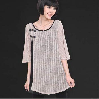 【麗質達人中大碼】MS1322針織雪紡拼接上衣(XL-5XL)