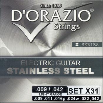 義大利手工製 DORAZIO 不鏽鋼材質 電吉他弦(No.X31)