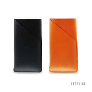 OVERDIGI Macaron 植鞣革抽取式皮套5.5適用 黑-行動