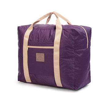 PUSH! 戶外休閒用品可折疊便攜式 旅行包 萬用旅行袋 提袋 收納袋35升(L)P88-1紫色