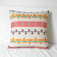 【協貿】簡約現代幻彩幾何抽象彩色C款抱枕含芯