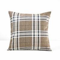 【協貿】簡約復古懷舊咖啡色格子沙發方形抱枕含芯