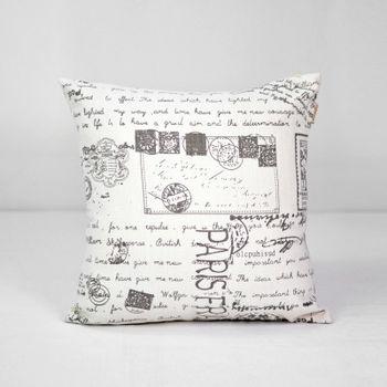 【協貿】簡約復古懷舊郵票印花沙發方形抱枕含芯
