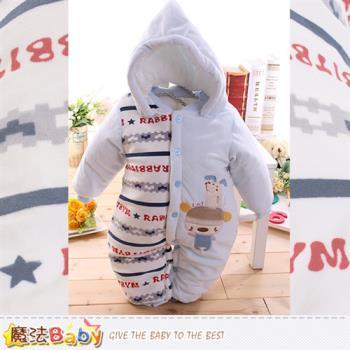 魔法Baby 嬰兒連身衣 專櫃款加厚鋪棉極暖連帽包屁衣~k60056